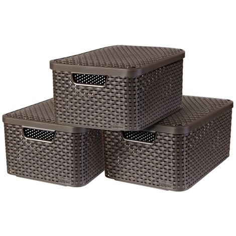 Curver Style Storage Box with Lid 3 pcs Size M Brown 240655 - Brown