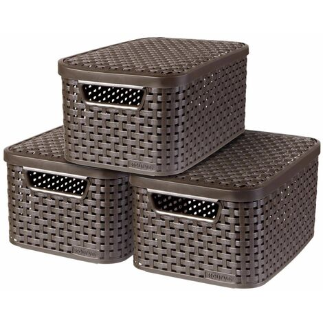 Curver Style Storage Box with Lid 3 pcs Size S Brown 240646 - Brown