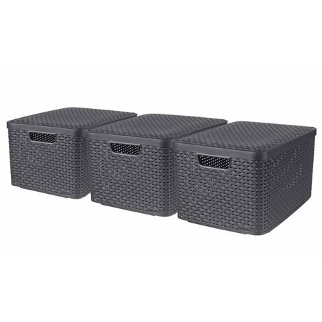 Curver Style Storage Boxes with Lid 3 pcs Size L Anthracite - Grey