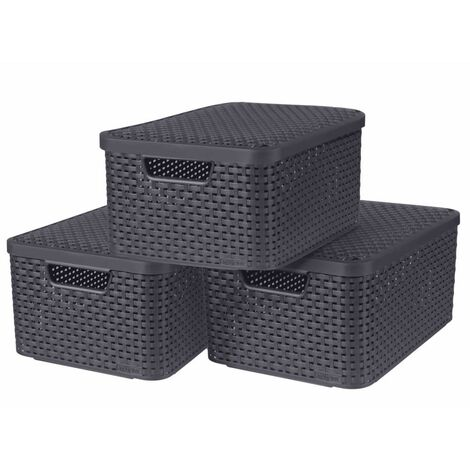Curver Style Storage Boxes with Lid 3 pcs Size M Anthracite - Grey