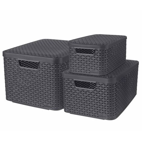 Curver Style Storage Boxes with Lid 3 pcs Size S+M+L Anthracite - Grey