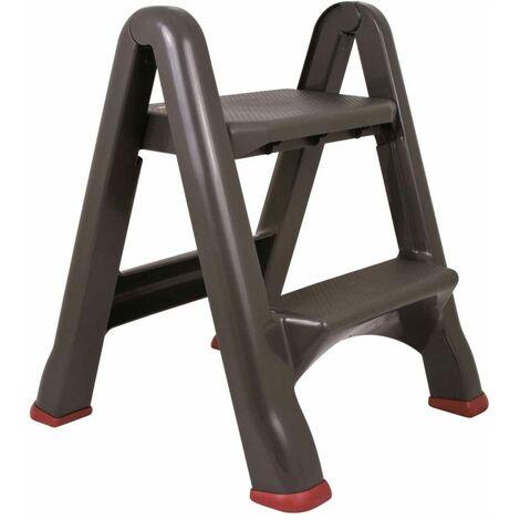Curver Taburete escalera plegable gris antracita 150 kg