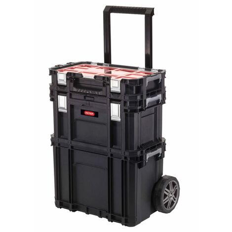 Curver Tool Storage Box with Connect Trolley and Rolling Systems Black