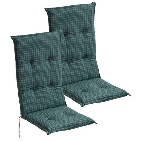 Cuscini con Schienale per Sedie da Giardino 2 pz 117x49 cm Blu -