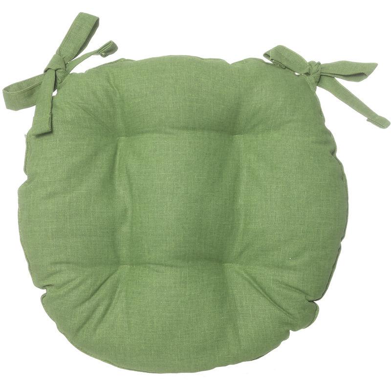 Cuscino Sedia Tondo Basik Verde In Cotone E Poliestere, Da 40x40 Cm