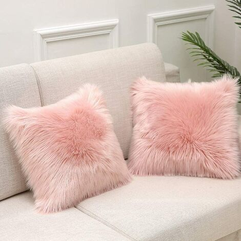 Cushion Cover Pink Faux Fur Deluxe Decorative Sofa Bedroom Bed Super Soft Plush Mongolia Pillow Cover Sofa Car Seat Tent 45X45cm Pack of 1