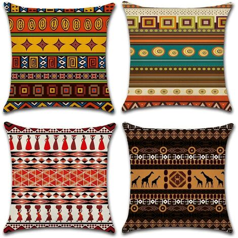 Cushion Cover, Set of 4 Cotton Linen Ethnic Style Decorative Pillow Case Decoration for Sofa Bedroom Home 45 x 45 cm