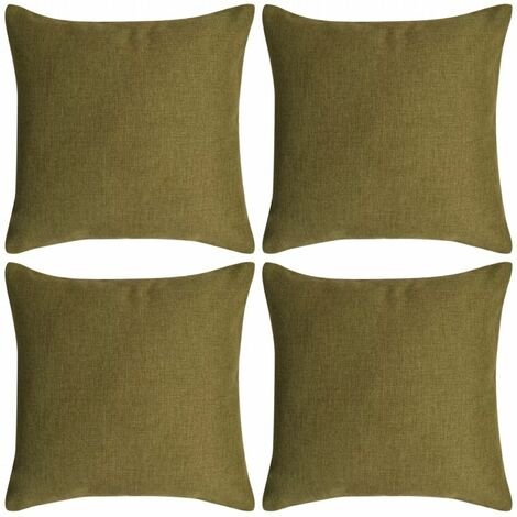 Cushion Covers 4 pcs Linen-look Green 80x80 cm