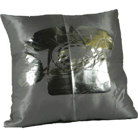 Cushion Covers Metallic Telephone Silver Pack of 2