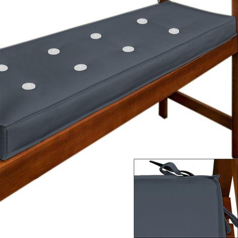 Deuba Garden Bench Cushion 3 Seater 145 x 45 cm Pad Cover Detex Water Repellent Ties 100% Polyester Grey
