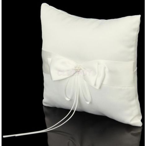 Cushion Pillow Ring Ring Bow Tie White Double Bow Ribbon Pearl Wedding