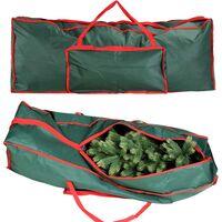 Custodia Sacco Porta Albero di Natale in Tessuto Verde con Tasca 125x30x50cm
