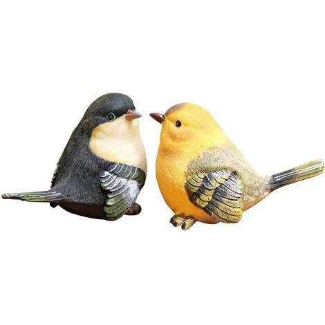 "main image of ""Cut Birds Garden Statue Funny Outdoor Garden Statue - Sculpture Ornaments Decor Set of 2 styles Yellow + Black"""