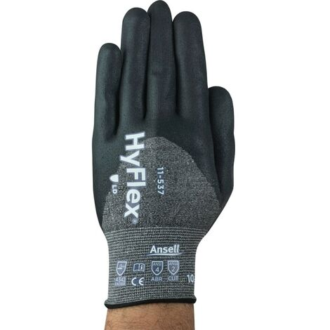 Cut Resistant Gloves, Nitrile Coated, Grey/Black