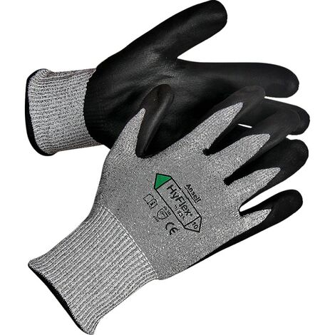 Cut Resistant Gloves, Nitrile/PU Coated, Grey/Black