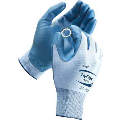 Cut Resistant Gloves, PU Coated, White/Blue