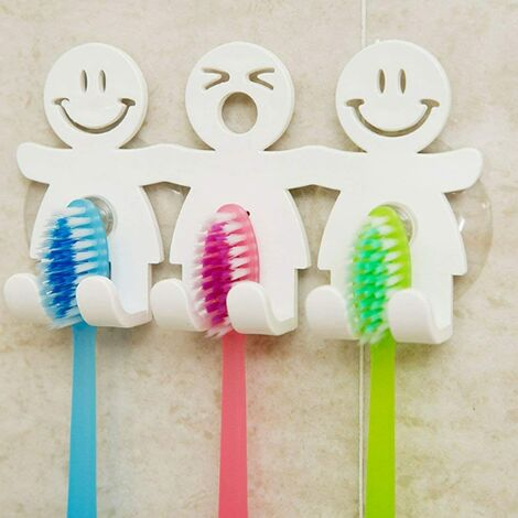 Cute Brush Holder & agrave; Smiley Emoji Home Decor Bathroom Wall Teeth with Suction Cup, 1, One Size