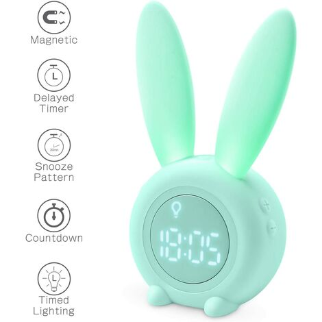 Cute Rabbit Shaped Induction Morning Alarm Clock, Intelligent Automatic Breathing Light Adjustment, Automatic Time / Date / Temperature Display, Voice Control or Tremor