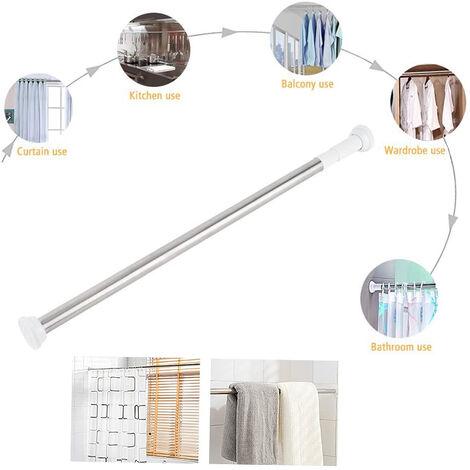 Cutter, grignotage, cutter, cisailles, tringle à rideau de douche 50-80CM, tringle de douche rotative réglable, également comme tringle à vêtements / tige de tension avec une prise sûre sans percer dans le placard / salle de bain