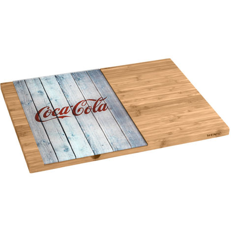 Cutting board with glass platter Coca-Cola Wood WENKO
