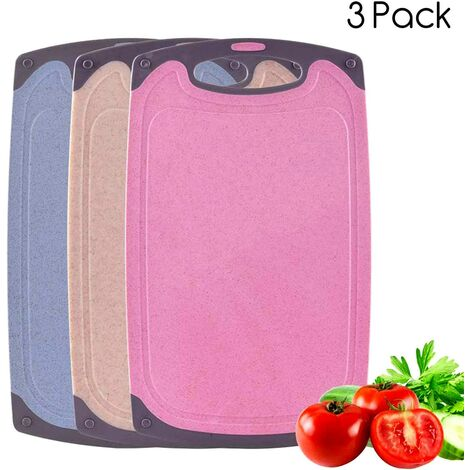 Cutting Boards, Plastic Cutting Board, Set of 3 Colorful Cutting Boards with Non-slip Feet and Juice Groove, Dishwasher Safe and Easy to Clean (3 pcs)