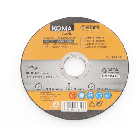 Cutting disc KOMA - for iron and stainless steel tools - 115mm - 08743