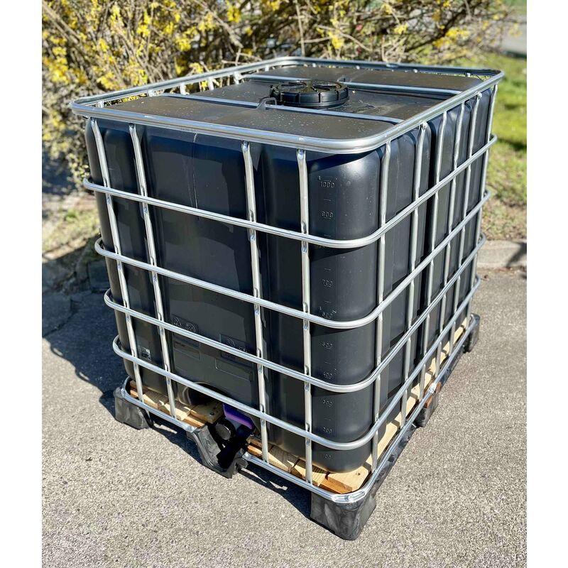 Cuve citerne noire palette plastique 1000 Litres récupération eau pluie