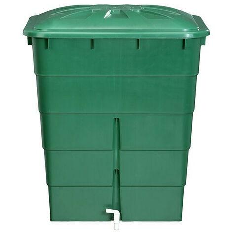 Cuve rectangulaire 300L verte avec couvercle et robinet - Garantia