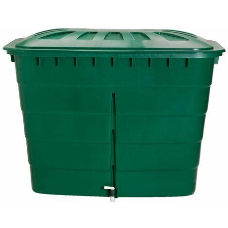Cuve rectangulaire 520L vert avec couvercle et robinet PE