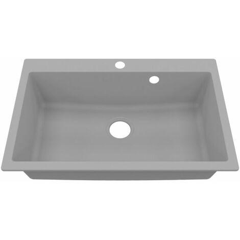 Cuve RESIROC - évier 1 bac sans égouttoir - 76 x 50 cm - Gris