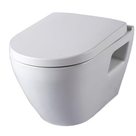 Cuvette suspendue gain de place en céramique blanche