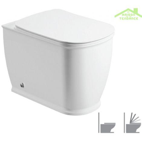 Cuvette WC à poser GENESIS avec abattant à frein de chute - Avec le réservoir - Avec le réservoir