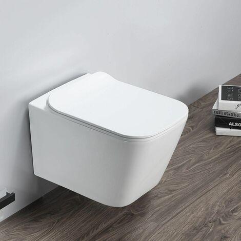 Cuvette WC suspendu ELEGANT - Sans bride et avec frein de chute Avec plaque de déclenchement chromée