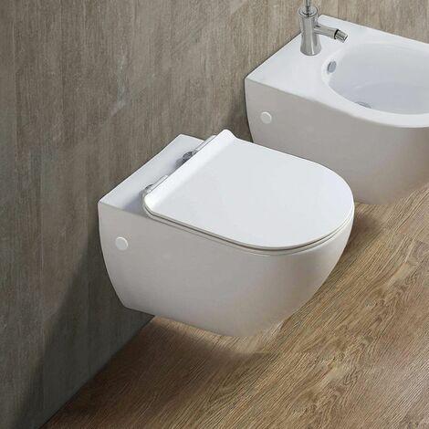 Cuvette WC suspendu FLY SMALL - Sans bride et avec frein de chute Avec plaque de déclenchement chromée