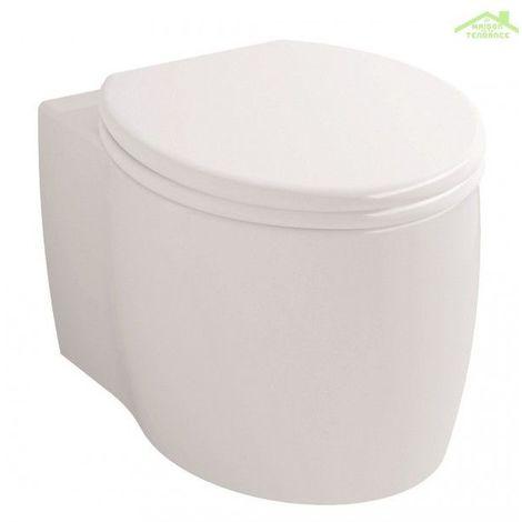 Cuvette WC suspendu IMPRESSION avec abattant à frein de chute 37x54 cm