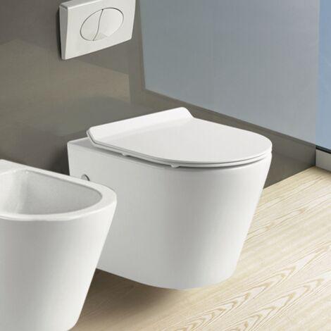 Cuvette WC suspendu MINI - Sans bride et avec frein de chute Avec plaque de déclenchement chromée