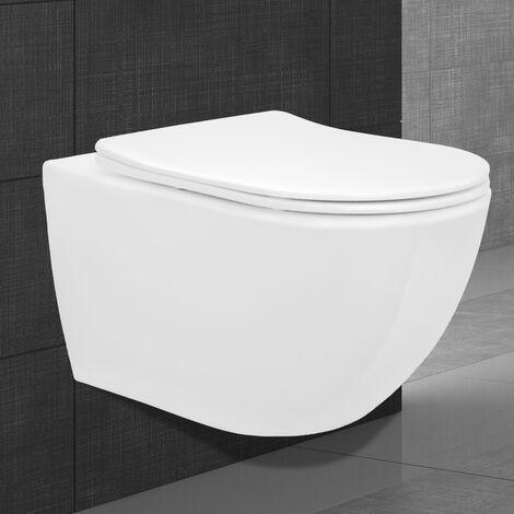 Cuvette wc suspendu mur toilette céramique sans bord fond creux siège softclose