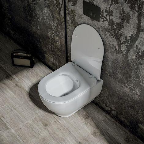 Cuvette WC suspendue 52 cm sans bride en céramique - Garcia + Abattant ultra-fin