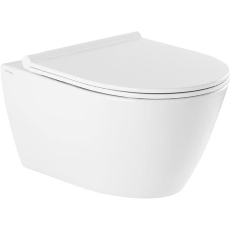 Cuvette WC suspendue Ancodesign sans bride - abattant frein de chute