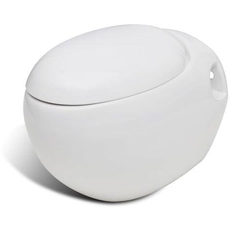 Cuvette WC suspendue avec abattant au choix blanc/noir design d'œuf Céramique