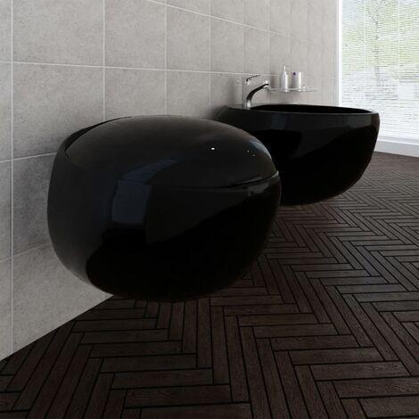 Cuvette WC suspendue et bidet suspendu en céramique Noir