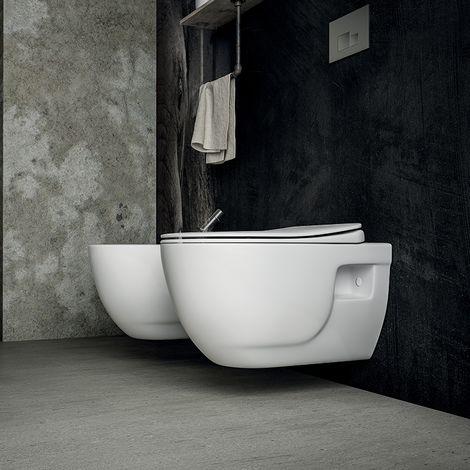 Cuvette WC suspendue sans bride en céramique 53 cm - Brilla + Abattant ultra-fin