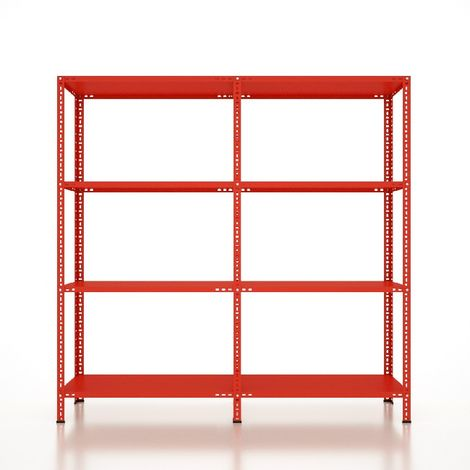 CVT Rack - with 3 Shelves, Tiers - Red made of Metal, Plastic, 24 x 22 x 29 cm, 184 x 41 x 180 cm