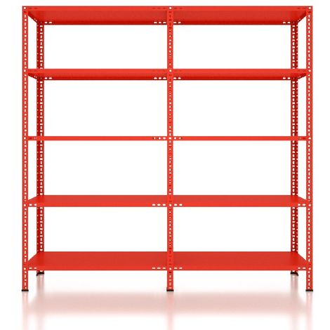 CVT Rack - with 4 Shelves, Tiers - Red made of Metal, Plastic, 58 x 72,5 x 15,5 cm, 184 x 41 x 180 cm