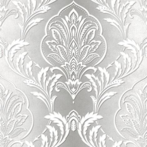 Damask Wallpaper Modern Metallic Silver Grey Living Room Bed Room Cwv
