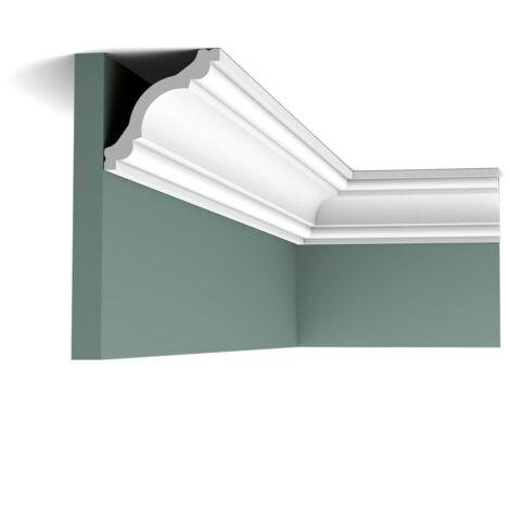 CX123 Corniche plafond Orac Decor - 8x8x200cm (h x p x L) - moulure décorative polymère - rigide ou flexible : rigide - conditionnement : A l'unité