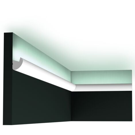 CX188 Corniche éclairage indirect LED Orac Decor Axxent - 3,4x3,4x200cm (h x p x l) - conditionnement : A l'unité - rigideouflexible : rigide