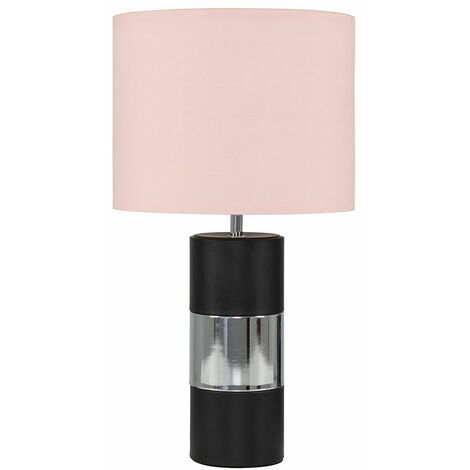 Cylinder Touch Table Lamp with Small Drum Lamp Shade - Pink