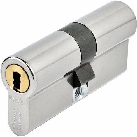 Cylindre 2 entrées 32,5x32,5 nickelé 3 clés