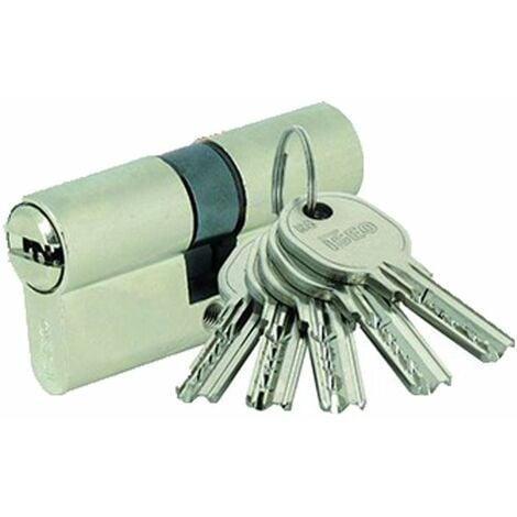 Cylindre à bouton IS-R6 Iseo - 5 Clés réversibles - Varié - 50x40B - Laiton nickelé